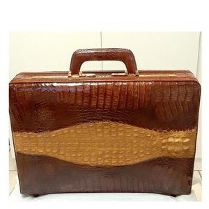 Vintage elegant Crocodile leather men briefcase
